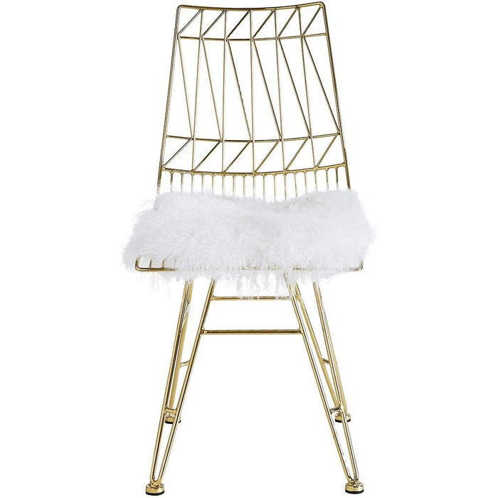 TOV Furniture Modern Allure Gold Steel Chair With White Sheepskin Seat-Set of 2 TOV-G7213