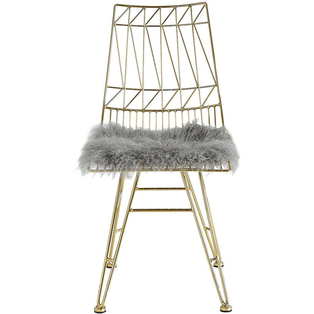 TOV Furniture Modern Allure Gold Steel Chair With Grey Sheepskin Seat - Set of 2 TOV-G7214