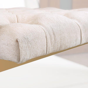 TOV Furniture Modern Emma Cream Textured Velvet Chair with Gold Legs TOV-S3704-Minimal & Modern
