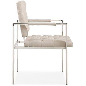 TOV Furniture Modern Emma Cream Textured Velvet Chair with Silver Legs TOV-S3702-Minimal & Modern