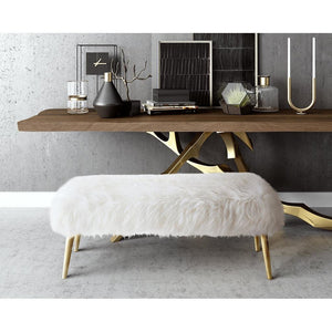 TOV Furniture Modern Churra White Sheepskin Bench with Gold Legs TOV-O88-Minimal & Modern