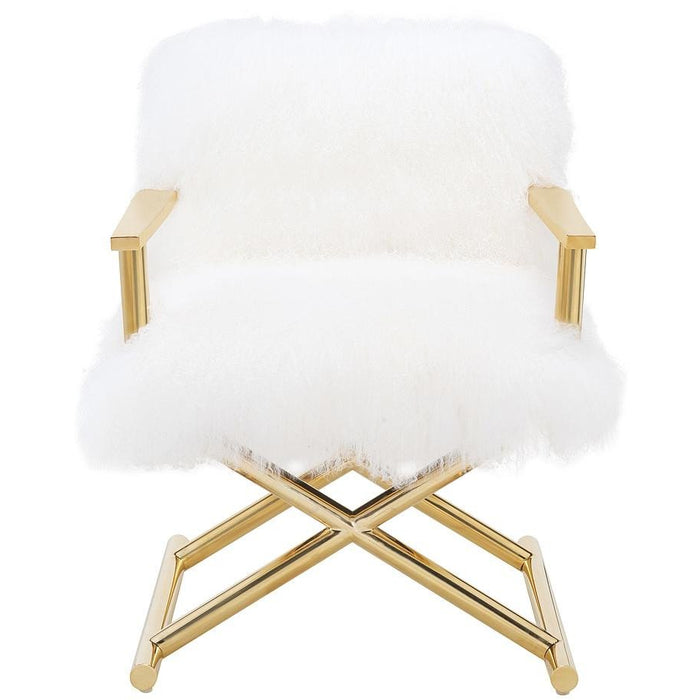 TOV Furniture Modern Jodi White Sheepskin Chair TOV-A170-Minimal & Modern