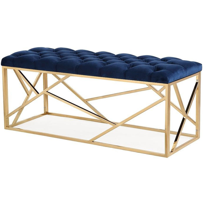 TOV Furniture Modern Skylar Navy Blue Long Bench TOV-OC3707-Minimal & Modern
