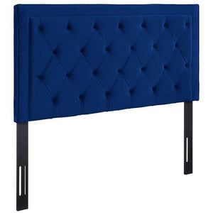 TOV Furniture Modern Nacht King Headboard In Navy Velvet-Minimal & Modern