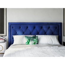 TOV Furniture Modern Nacht Queen Headboard In Navy Velvet-Minimal & Modern