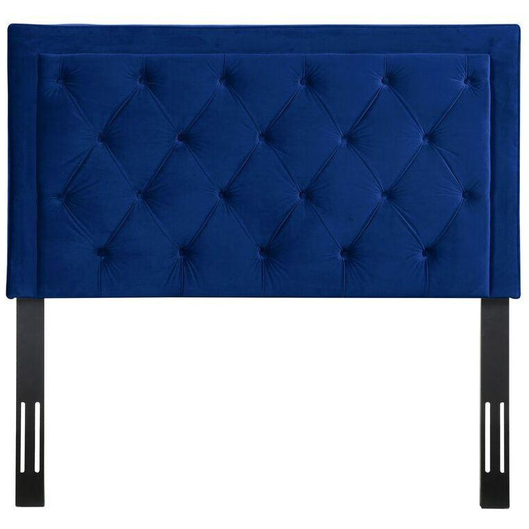 TOV Furniture Modern Nacht Twin Headboard In Navy Velvet-Minimal & Modern