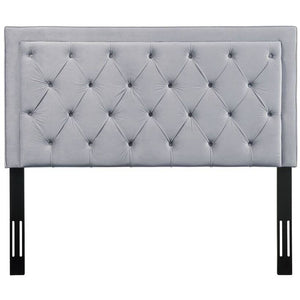 TOV Furniture Modern Nacht Queen Headboard In Grey Velvet-Minimal & Modern