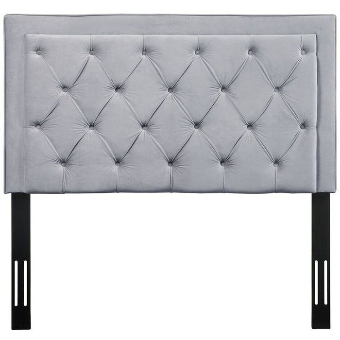 TOV Furniture Modern Nacht Twin Headboard In Grey Velvet-Minimal & Modern