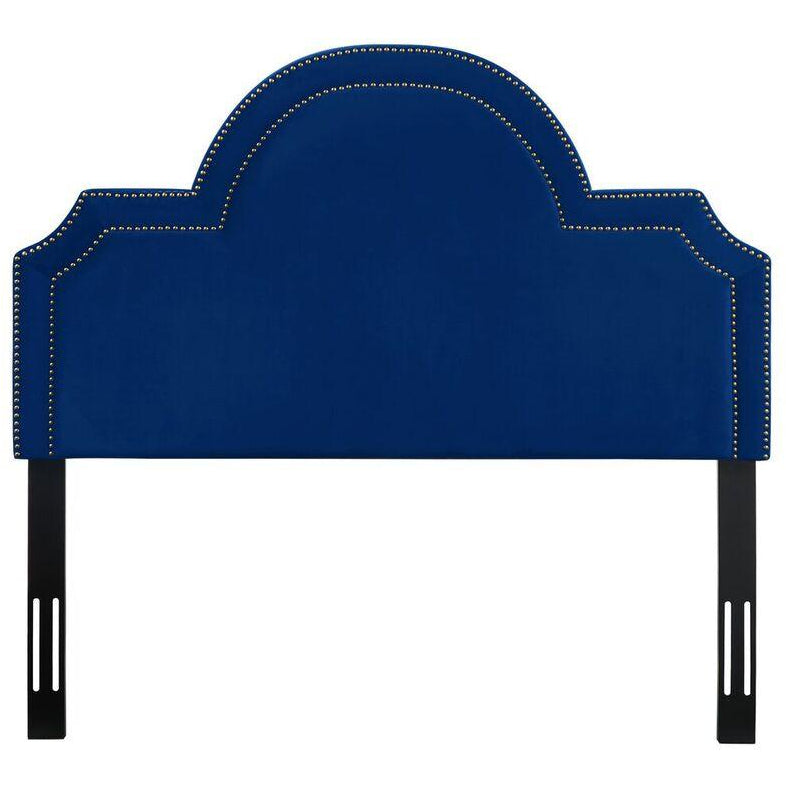 TOV Furniture Modern Laylah King Headboard In Navy Velvet-Minimal & Modern