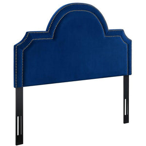 TOV Furniture Modern Laylah Queen Headboard In Navy Velvet-Minimal & Modern