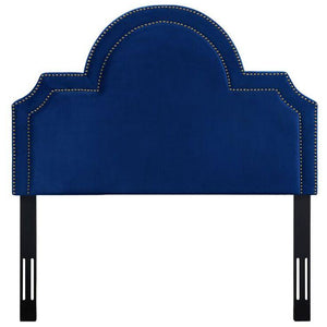 TOV Furniture Modern Laylah Twin Headboard In Navy Velvet-Minimal & Modern