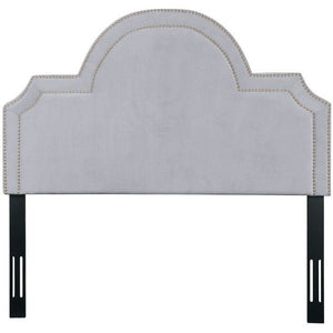 TOV Furniture Modern Laylah Queen Headboard In Grey Velvet-Minimal & Modern