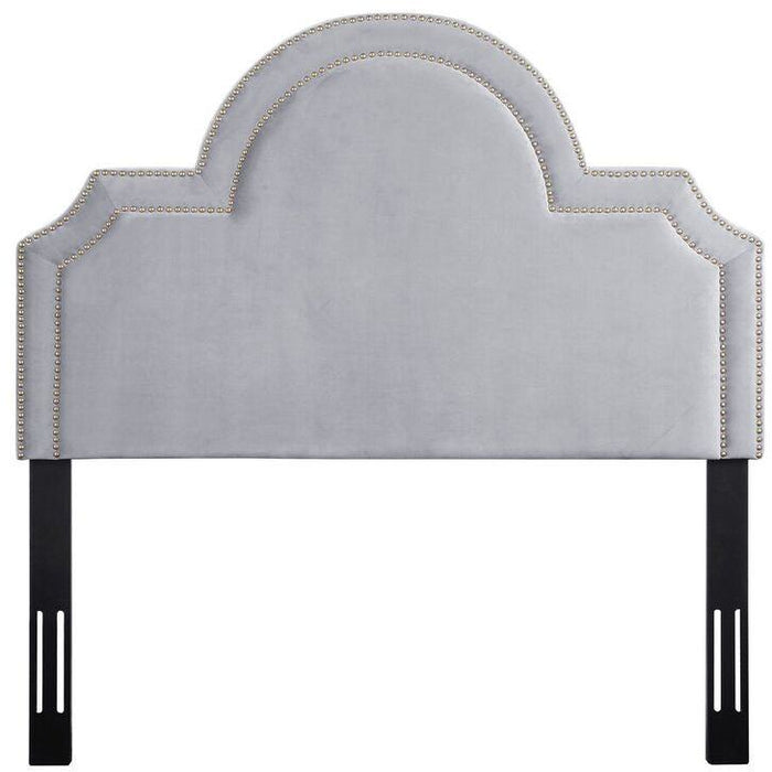 TOV Furniture Modern Laylah Full Headboard In Grey Velvet-Minimal & Modern