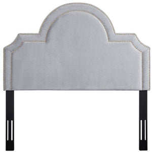 TOV Furniture Modern Laylah Twin Headboard In Grey Velvet-Minimal & Modern