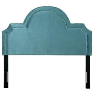 TOV Furniture Modern Laylah King Headboard In Sea Blue Velvet-Minimal & Modern