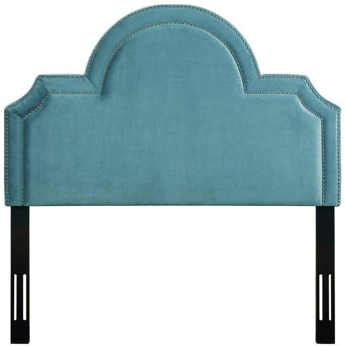 TOV Furniture Modern Laylah Full Headboard In Sea Blue Velvet-Minimal & Modern
