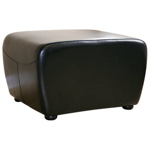 Baxton Studio Black Full Leather Ottoman with Rounded Sides Baxton Studio-ottomans-Minimal And Modern - 1