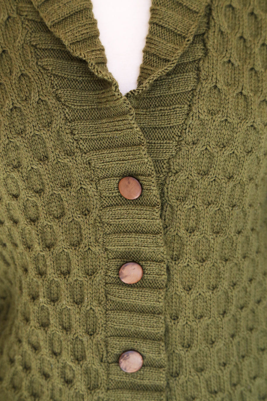 VINTAGE - Army Green Fisherman Hand Knit Wool Cardigan