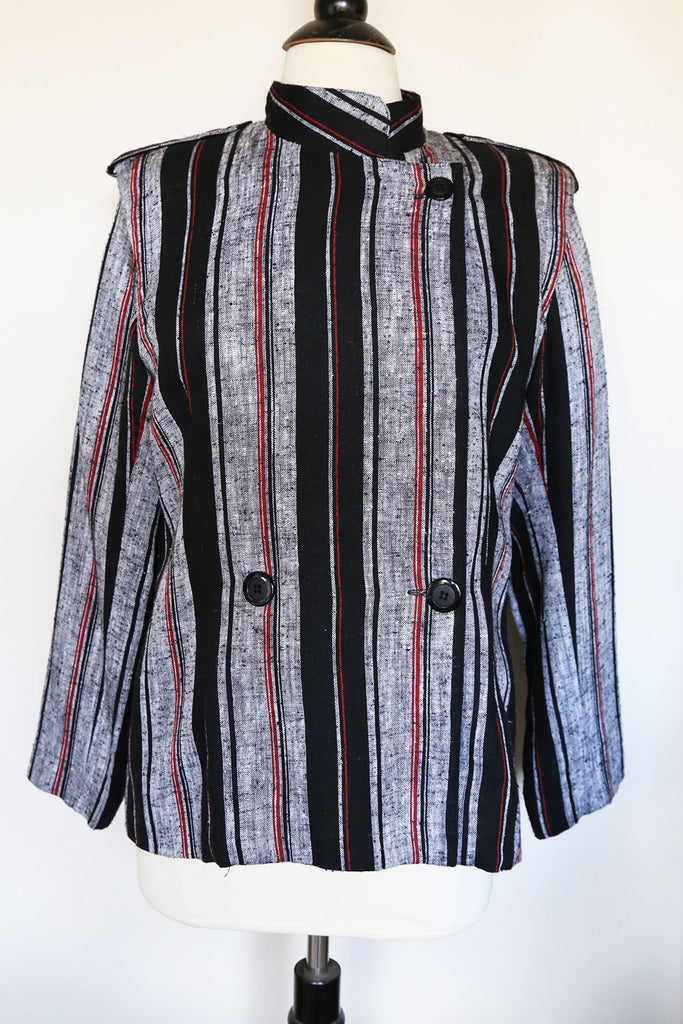 VINTAGE - Black Ink Striped Linen Jacket