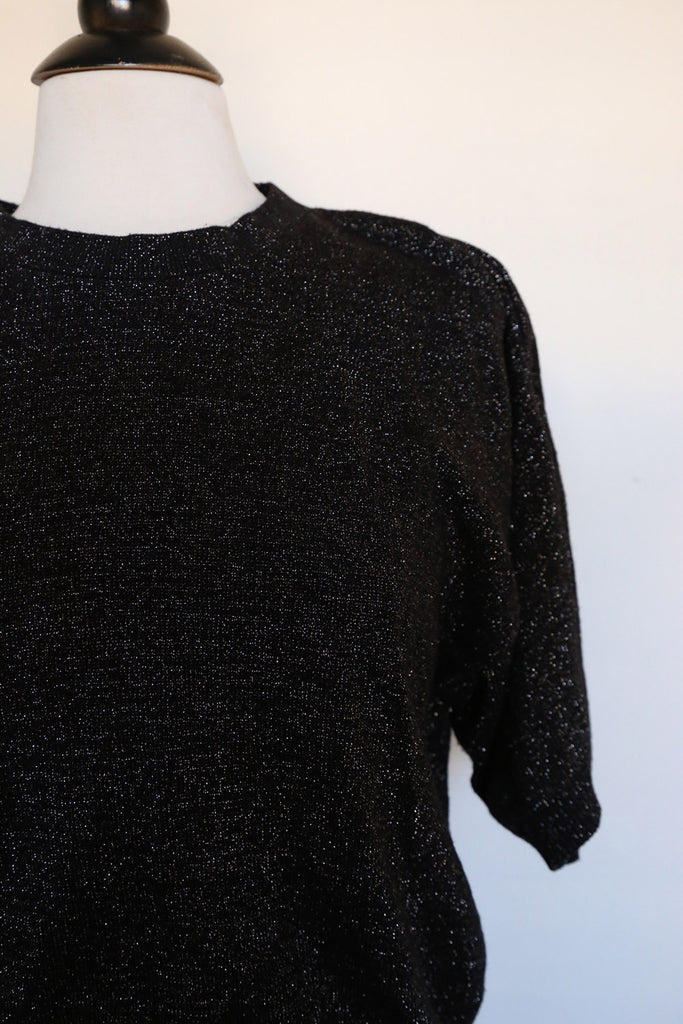 VINTAGE - 'Pierre Cardin' Black and Gold Top