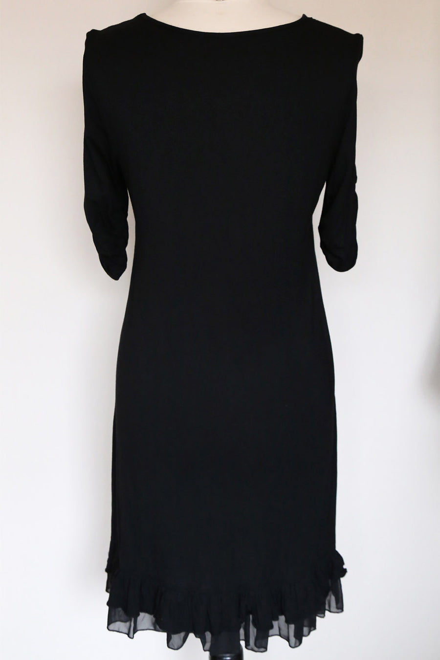 PRELOVED - Frilled Black Jersey Dress