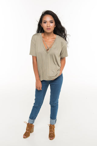 V- Neck Cross Strap Front T Shirt