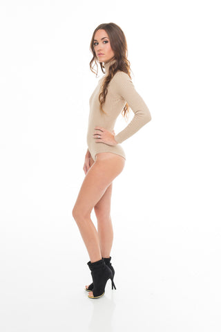 High Neck Ribbed Bodysuit Nude
