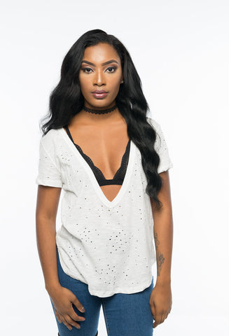 Distressed Deeply V Neck T Shirt