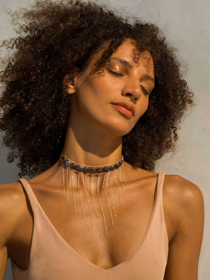 Black Pearl Waterfall Choker - Goldish