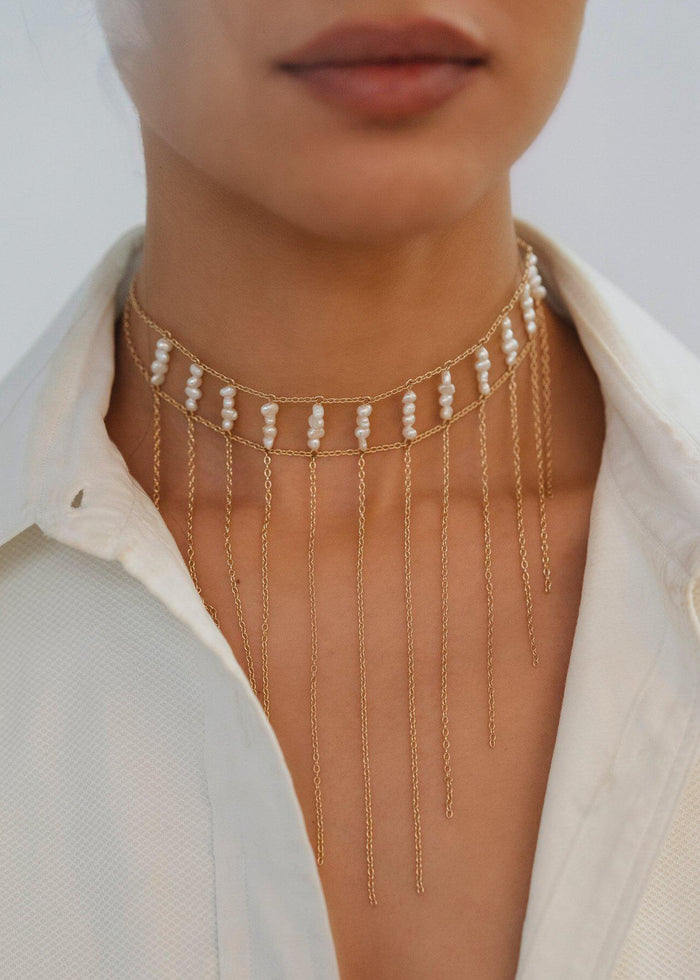 Pearl Waterfall Choker