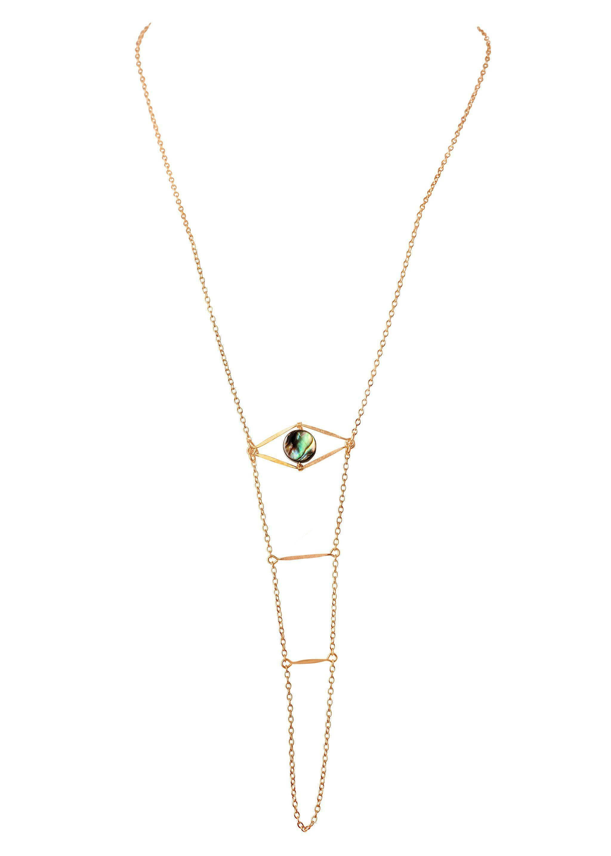 Abalone Cupid's Eye Handchain - Goldish