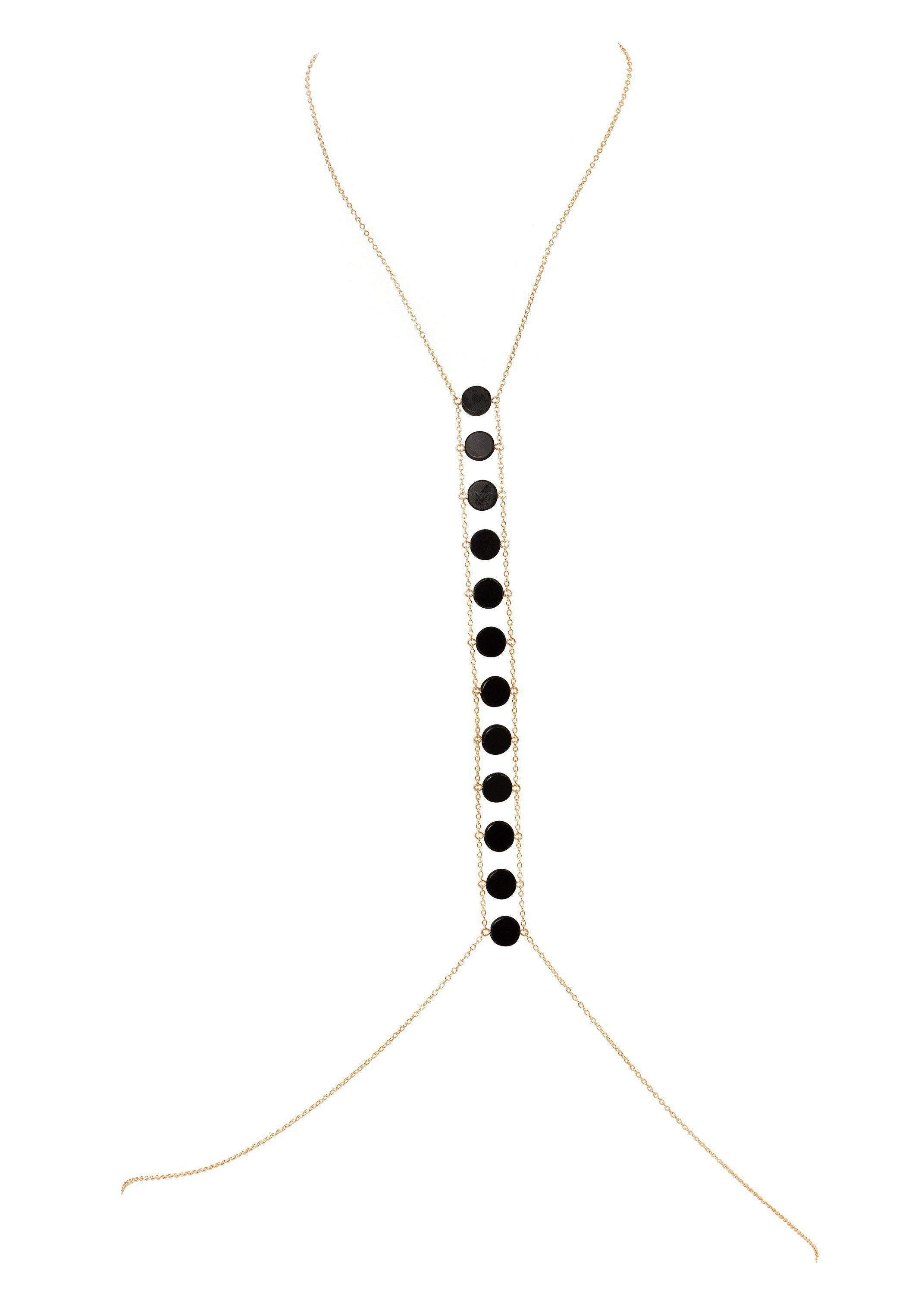 Circle Stone Spine Bodychain - Goldish