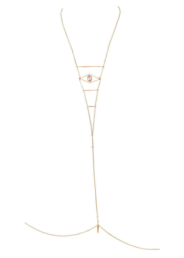 Gemstone Cupid's Eye Bodychain - Goldish
