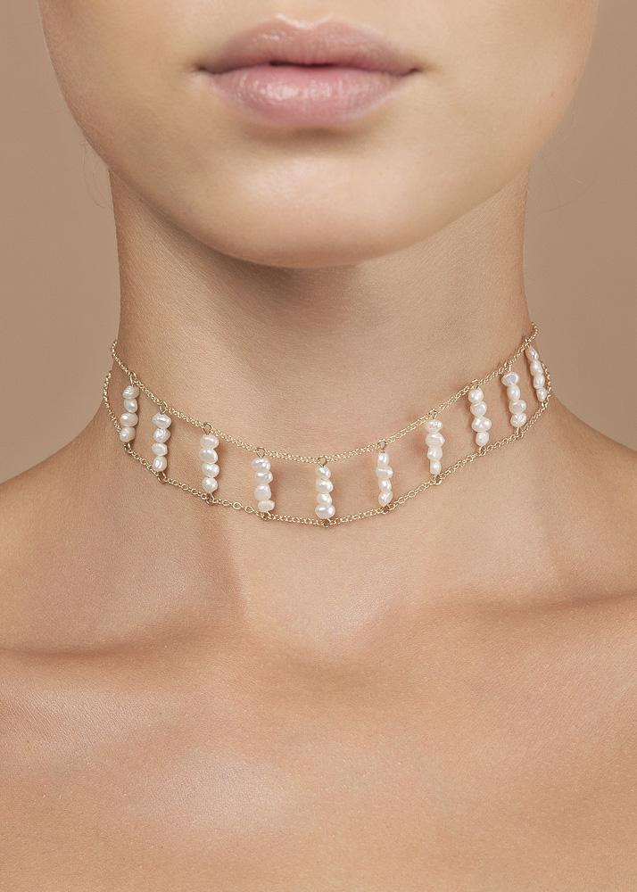 Gemstone Ladders to Bliss Choker - Goldish