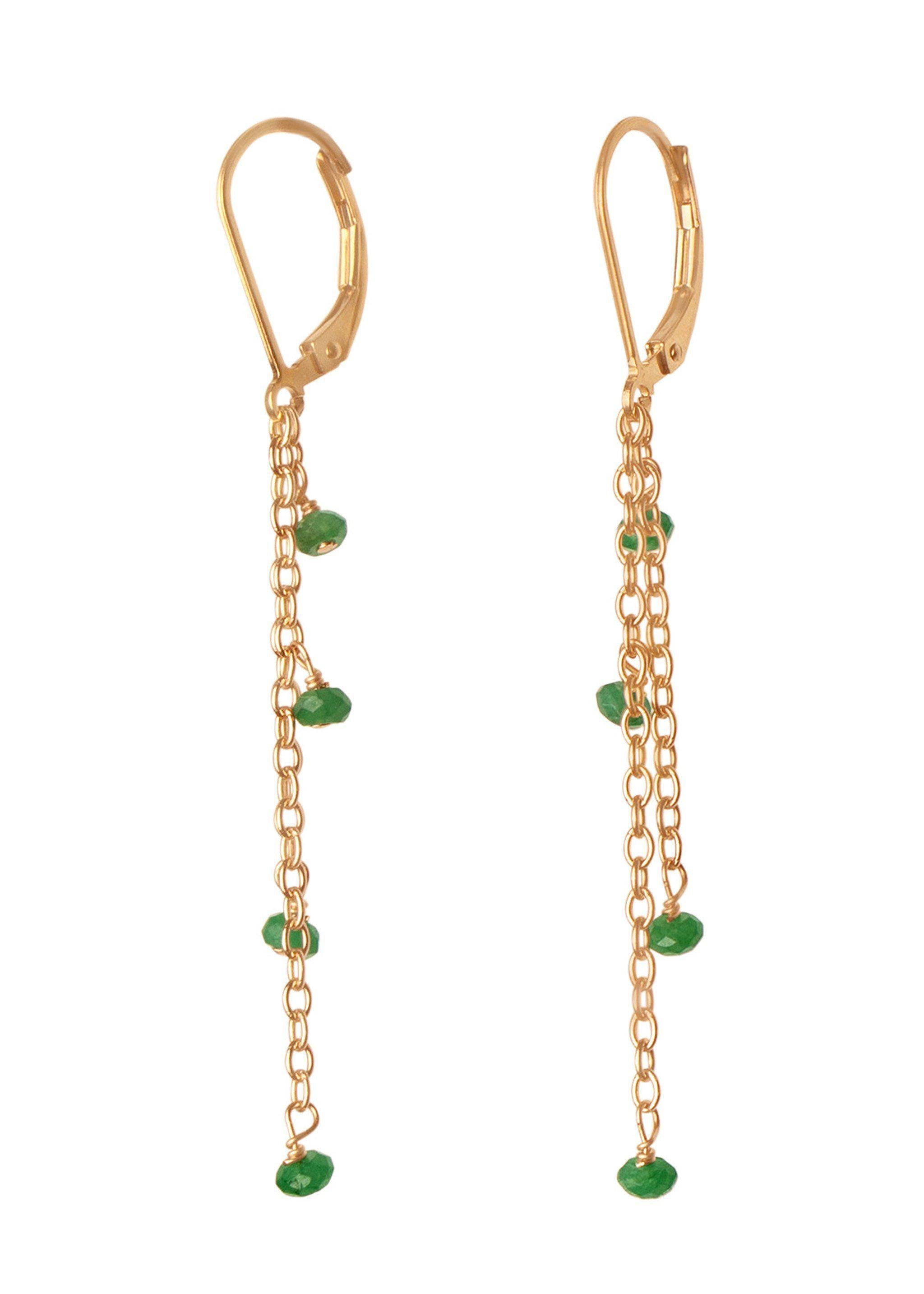 Gemstone Vine Earring - Goldish