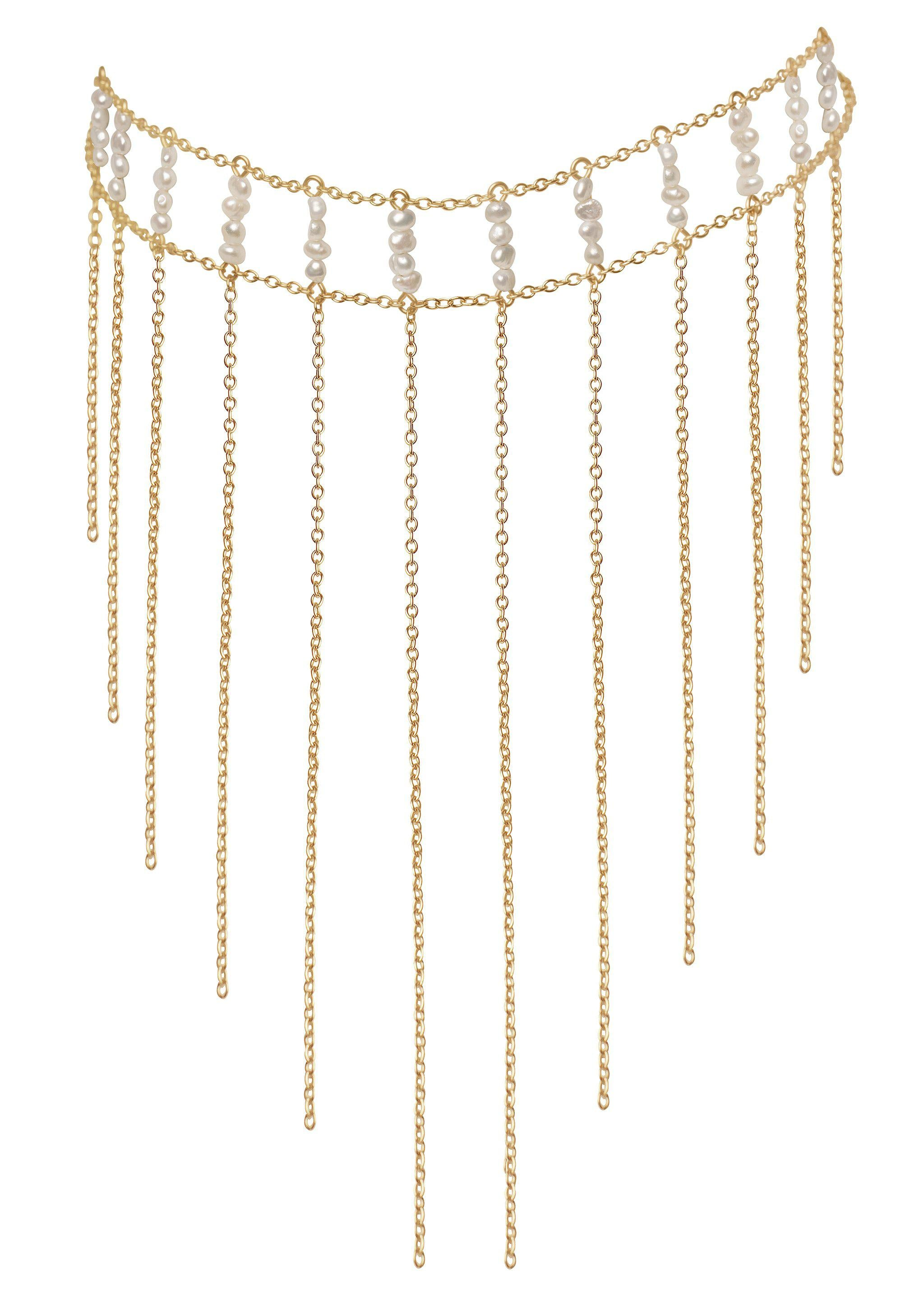 Pearl Waterfall Choker - Goldish