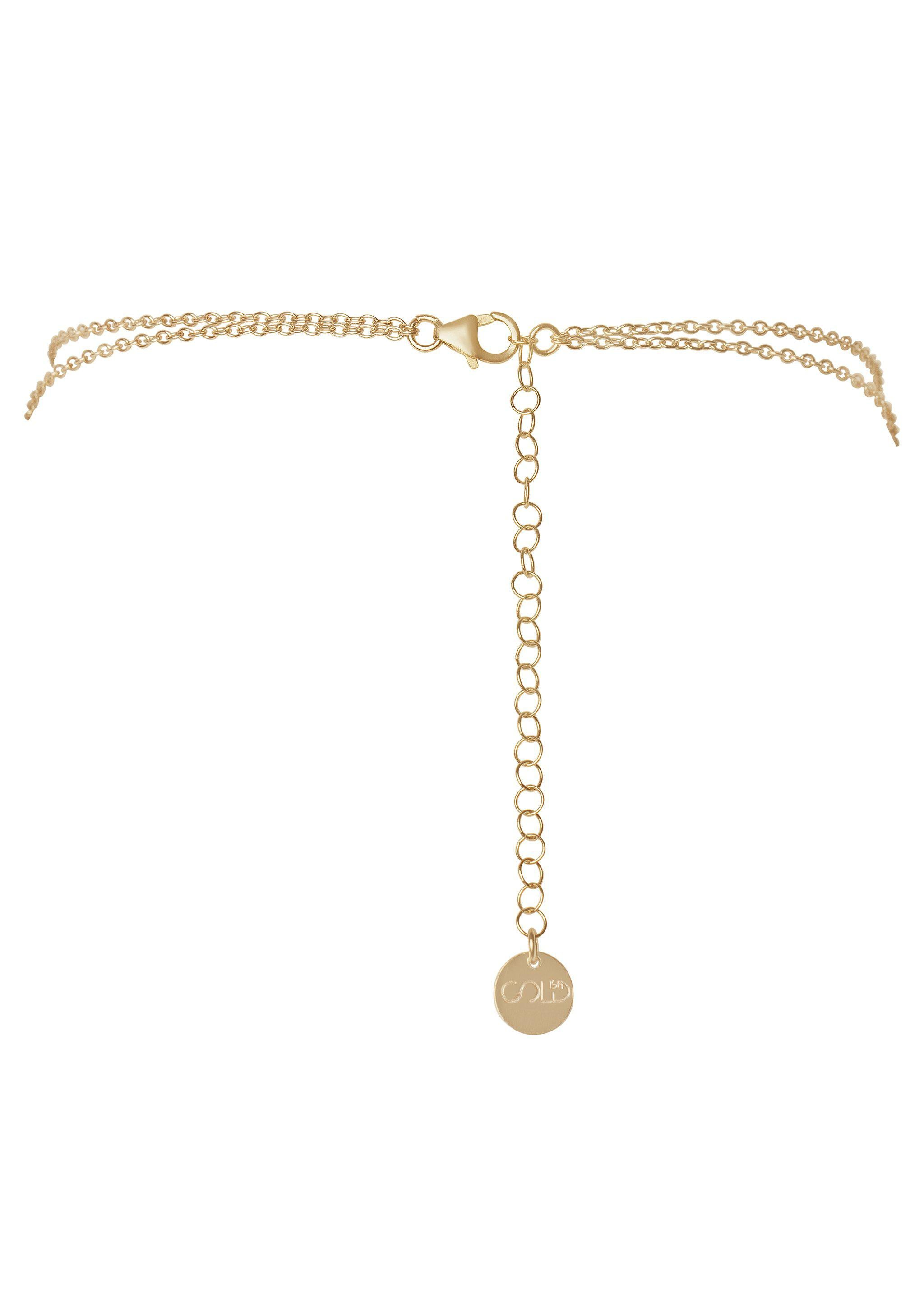 Circle Stone Waterfall Choker - Goldish