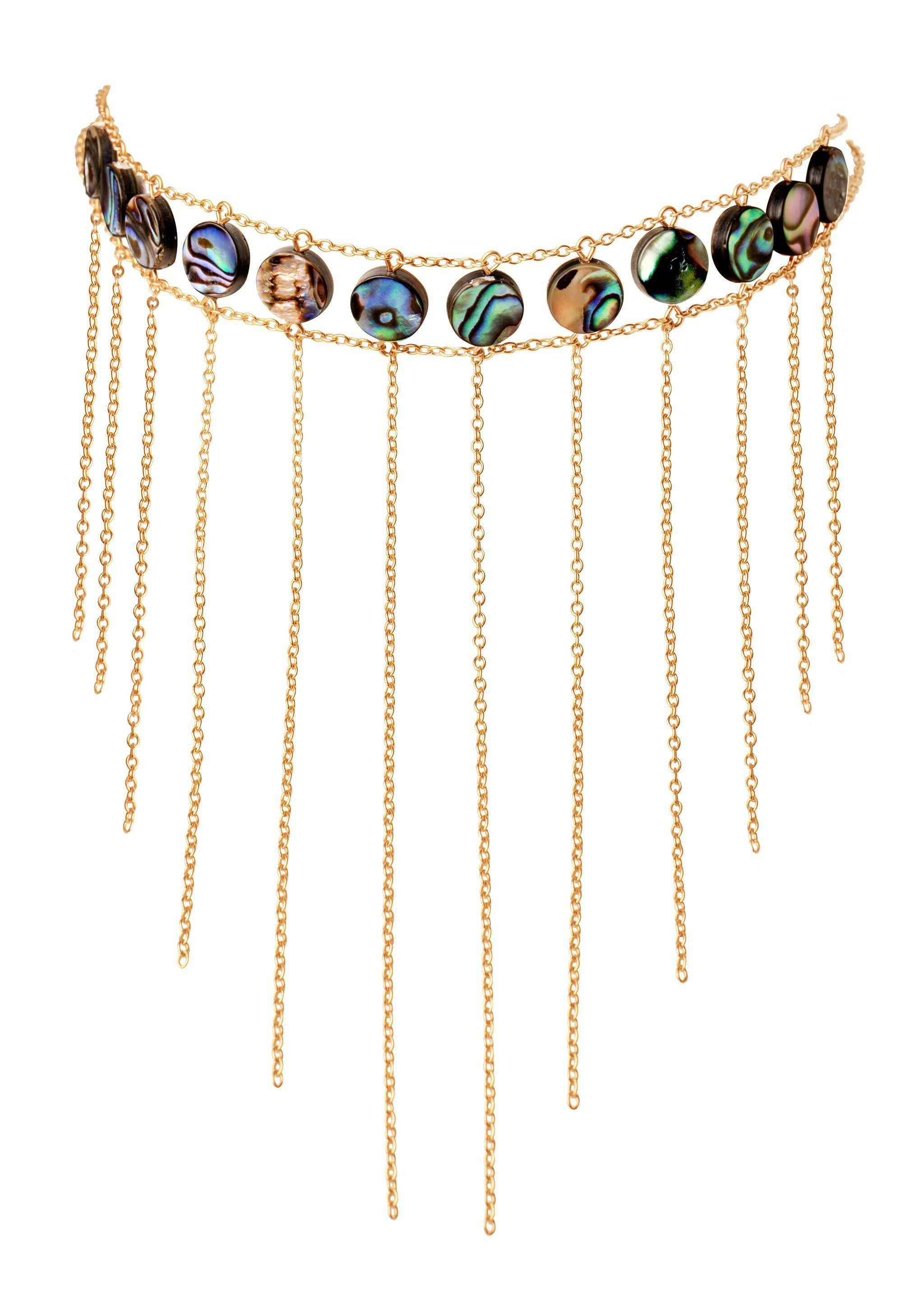 Abalone Waterfall Choker - Goldish