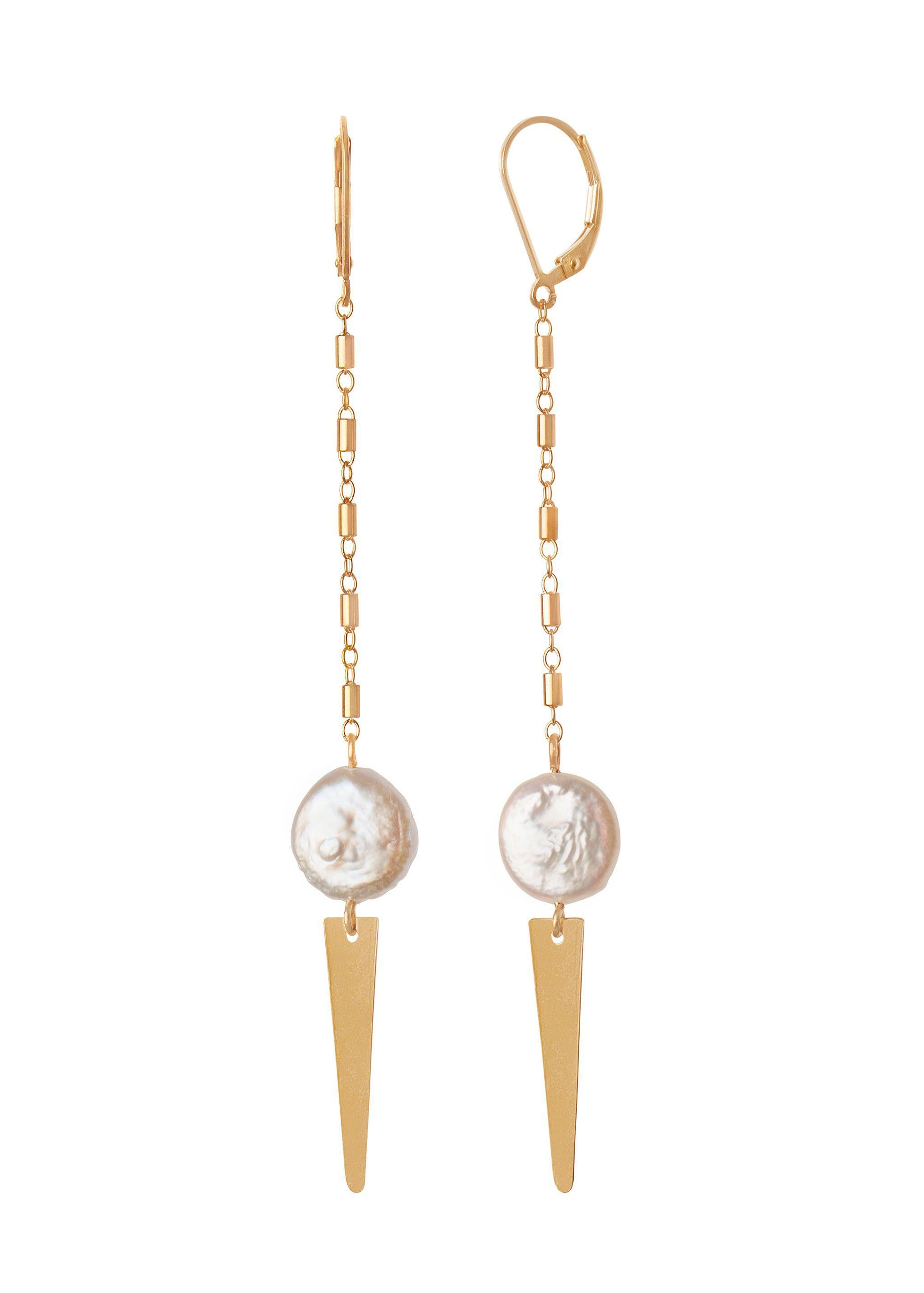 Pearl Arrow Earring - Goldish