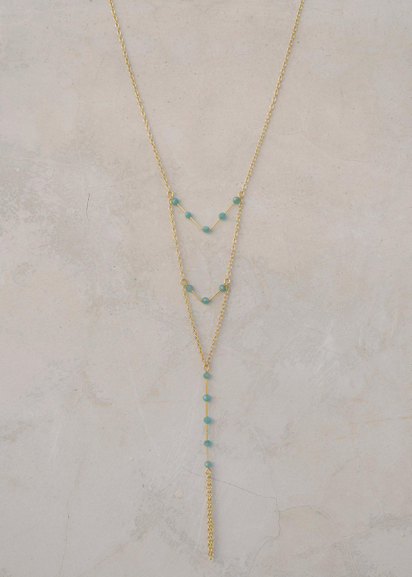 Triple Layered V Necklace - Goldish