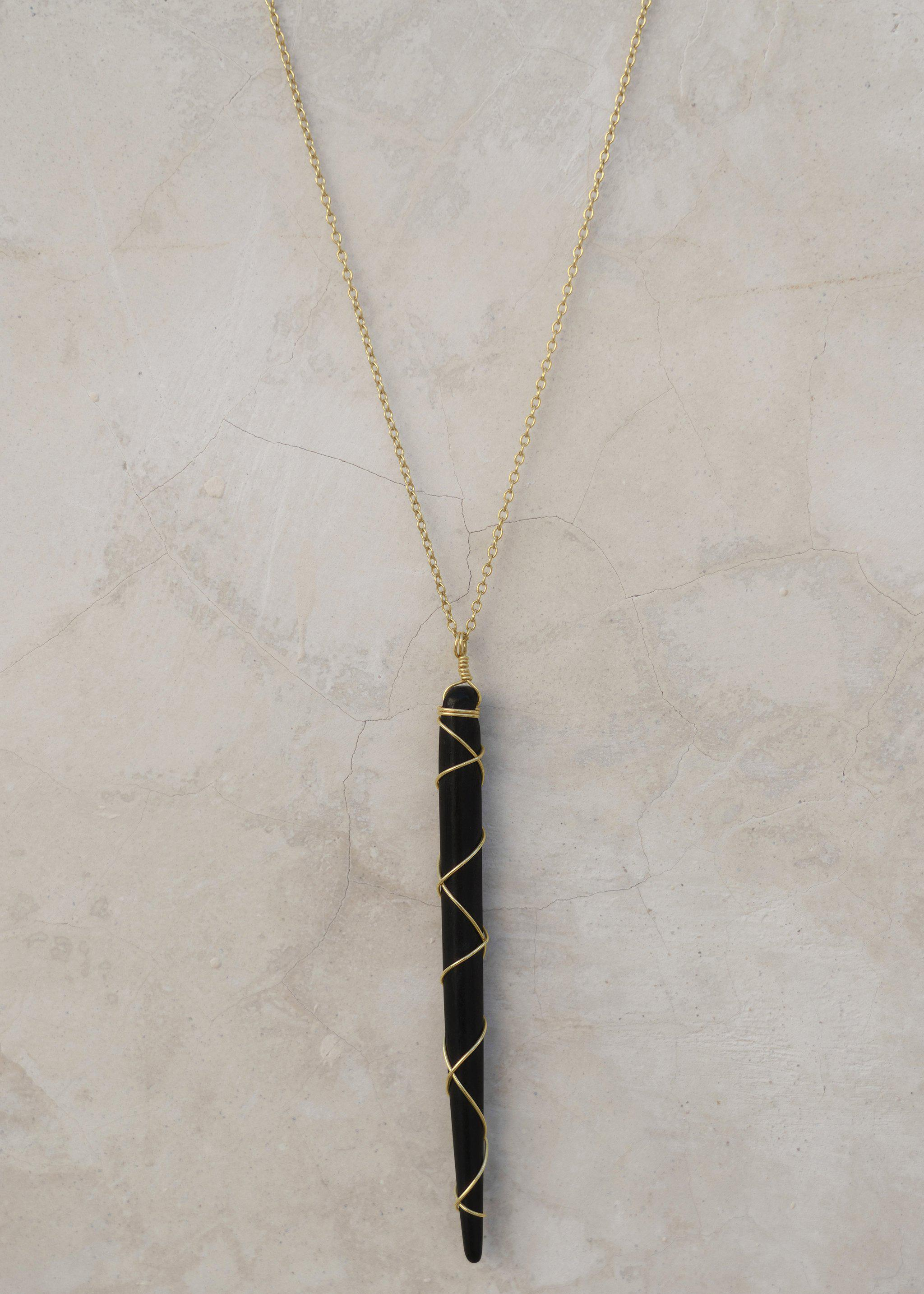 Magic Wand Necklace - Goldish