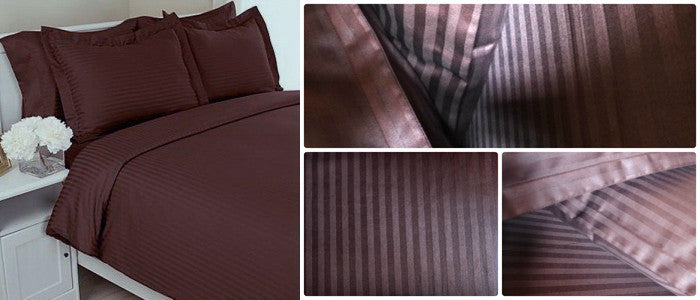 Chocolate Brown Self-Stripe Fitted Sheet