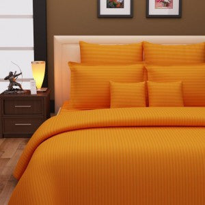 Mandarin Orange Self-Stripe Fitted Sheet