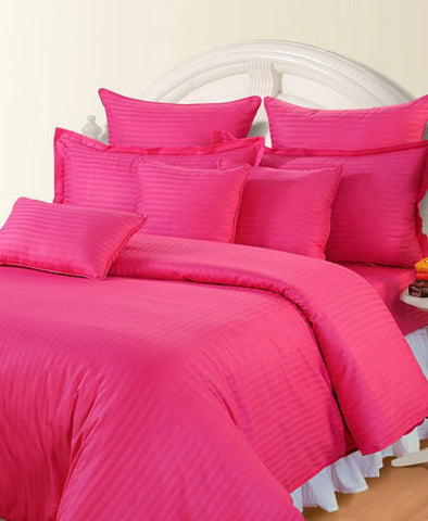 Neon Pink Self-Stripe Fitted Sheet