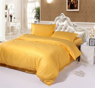Yellow Self-Stripe Fitted Sheet