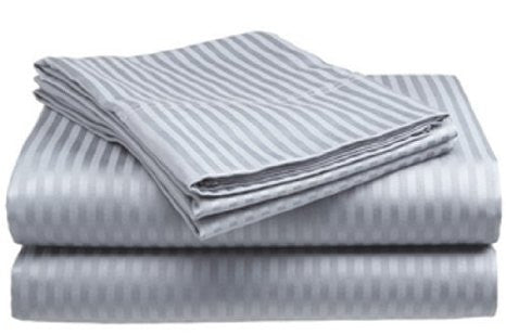 Silver Self-Stripe Fitted Sheet
