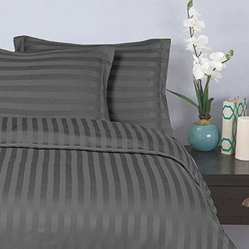 Steel Grey Self-Stripe Fitted Sheet (Superior)