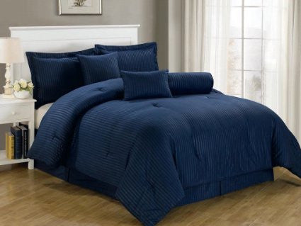 Navy Blue Self-Stripe Fitted Sheet (Superior)