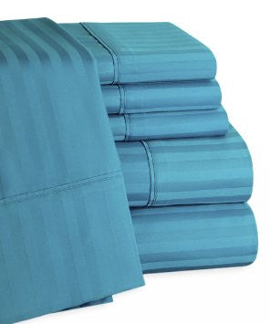 Dark Teal Self-Stripe Fitted Sheet