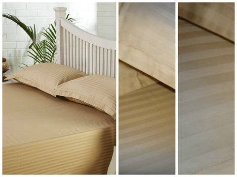 Beige Self-Stripe Fitted Sheet
